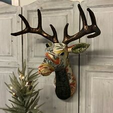 Vintage Style Fabric Stag Reindeer Head Wall Hanging Gisela Graham Retro Bust