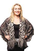 Plus Size Kimono Style Jacket Chiffon Top Animal Print Leopard Grey Kaftan Top