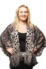 Plus Size Kimono Style Jacket Chiffon Top Animal Print Leopard Grey Kaftan Top