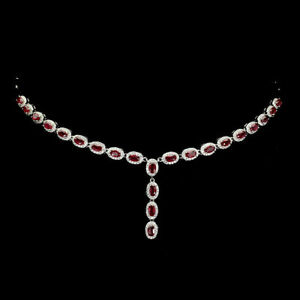 Necklace Pink Ruby Genuine Natural Gems Sterling Silver 18 1/2 to 20 1/2 Inch