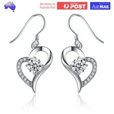 Pair of Silver Plated Designer Heart Earrings with CZ Crystal Gem Drop Dangle
