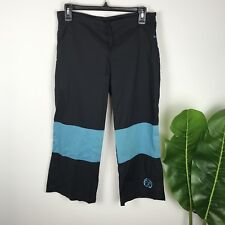Be Present Size XS Black Blue Budokon Yoga Pants Crop Side Slit With Pockets