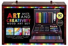 Kids Colored Pencils Set 142 Pieces + WOODEN CASE DRAWER Box Art Creativity