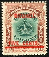 Brunei 1906 green/brown 5c on 16c unmounted mint SG16