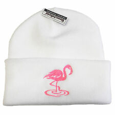Pink Flamingo Embroidered Beanie - Bright Colour Hipster Swag Unisex Fashion Hat