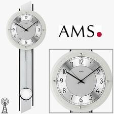 Ams 5234 Horloge de Pendule Murale Argent Radio-Piloté Panneaux Arrière en Bois