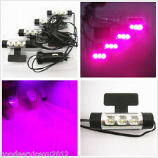 4 Pcs 3 LED Purple Pink Car Charge DC 12V Interior Atmosphere Lamp For Chevrolet