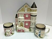 Hand Painted Pink Otagiri SF Town House Cookie Jar Matching Pink & Blue Mugs