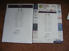 2017/18  Burnley v  Chelsea  2 x  TEAMSHEET Club and Press Issue