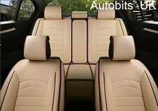 Beige PU Leather Full Set Seat Covers Padded For Land Rover
