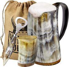 Viking Culture Ox Horn Mug, Shot Glass,and Bottle Opener 3 pic set - Polished