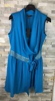 New Ted Baker Ladies Size 4 Uk 14 Blue Cowl Neck Tunic Belted Dress RRP £139