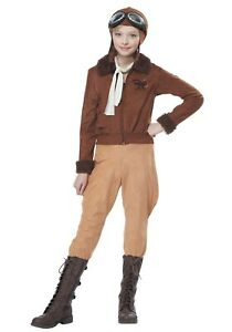 Girl's Amelia Earhart Aviator Pilot Costume Size S M (with defect)
