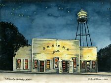 """Water Color Print of Lynn Wilkerson's """"Hill Country Saturday Night"""" Gruene Hall"""