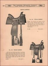 Western SADDLES, TEXAS SADDLE, catalog page, vintage, original 1938