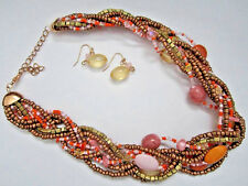 Multi Strand Multi Pink And Gold Tone Bead Braided Necklace Earring