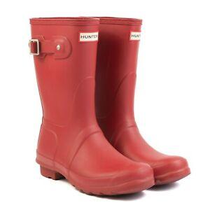 HUNTER Original Classic Short Rain Boots Rubber Wellies Matte Red Women's Size 8