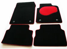 Tailored Black Carpet Car Mats Set with Red Trim & Heel Pad for Fiat 500 (2013>)