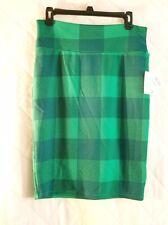 Lularoe Cassie Skirt Size Medium Green Plaid Print New With Tags NWT Pencilskirt