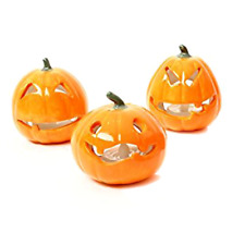 Ceramic Pumpkin With Battery Tealight (Pack of 3)