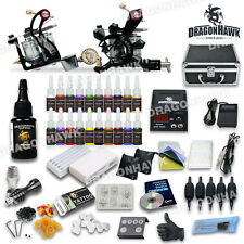 Dragonhawk Professional Tattoo Kit 21 color Ink Power Supply 2 Machine Guns