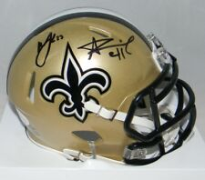 ALVIN KAMARA & MARSHON LATTIMORE SIGNED NEW ORLEANS SAINTS SPEED MINI HELMET JSA