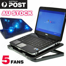 "5 Fans 10""-15.6"" LED Lights USB Adjustable Stand Cooler Pad For Notebook Laptop"