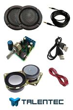 "kit DIY de audio: Amplificador, 2x altavoces 5W, 2"", 2x rejillas de 2"", cableado"