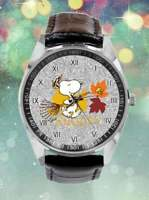 Snoopy and Woodstock Watch Black Faux Leather Band Stainless Steel Back in Box