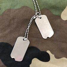 US GI World War 2 American Army Style Stainless Steel Notched Dog Tags x 1 Pair