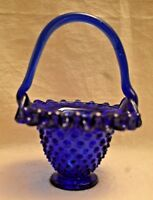 Cobalt Blue Basket Hobnail Glass Ruffle Edge 5.5 inches tall x 4 inches wide
