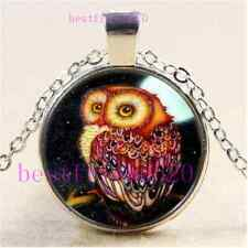 Moonlight Owl Photo Cabochon Glass Tibet Silver Chain Pendant Necklace