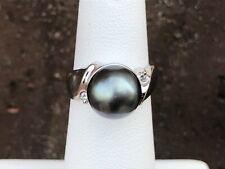 14K WHITE GOLD TAHITIAN BLACK PEARL & DIAMOND RING SZ 4