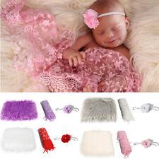 Baby Blanket Wrap 3Pcs Girl Newborn Infants Photography Photo Props Headband