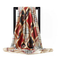 Women Scarf Silk Luxury Satin Large Square Horse Shawls Wrap Head Neck Scarves