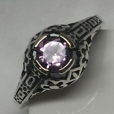 Natural Rose De France Amethyst 925 Solid Sterling Silver Art DECO Ring 6