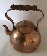 Vintage Copper Tea Kettle Pot w/ Brass & Wood Handle -Portugal