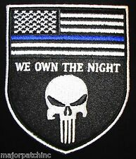PUNISHER US FLAG THIN BLUE LINE WE OWN THE NIGHT POLICE OPS MORALE HOOK PATCH