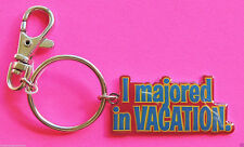 I Majored In Vacation Metal Key Chain Ring w/ Latch Clip Disney Red & Blue New