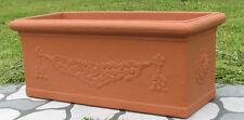 Cassetta Fioriera Decorata Festonata Vaso Resina 100x40h40cm color terracotta