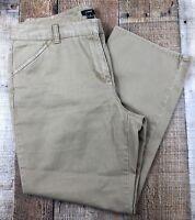 "J. CREW Favorite Fit Flat Front Tan Pants Size 10 32x25.5. Rise 10"""