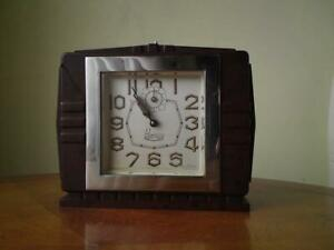 French Art Deco Blangy Alarm Clock chrome bezel bevelled glass Bakelite case