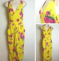 Warehouse 10 Yellow Pink Floral Sleeveless Pocket Split Summer Occasion Dress D3