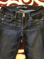 Womens AMERICAN EAGLE Super Stretch Artist Dark Wash Jeans SZ 8 REG