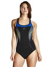 Speedo Fit Kickback Swimsuit 810367B720 Black/Electric Blue Swimming Costume
