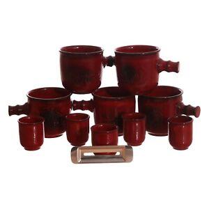 Traumfeuer Feuerzangenbowle Set Tassen + Maßbecher 11 Teilig Keramik Pott rot