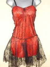 Ladies Vibrant Red Gothic Steampunk Halloween Spiderweb Lace Dress Size 10-14