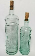 2 Lovely Embossed BOTTLES Matching GRAPES Green Tint GLASS