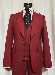 Mens Burgundy Red Sample Suit 40R Slim New