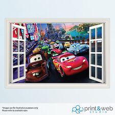 Disney Cars 3D ventana de vista Calcomanía Pared Adhesivo Decoración Hogar Arte de Mural Niños